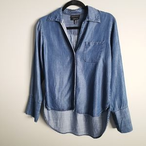 Foxcroft 4 Nordstrom Tencel long sleeve button down shaped top